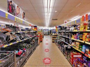 Einkaufen Kasse Virus Corona Lebensmittel Supermarkt Social Distancing